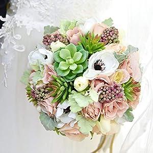 Yokoke Wedding Bridal Bridesmaid Bouquet Wedding Holding Flower Artificial Peony Rose Green Succulent Berry for Wedding Church Party Home Decor 1