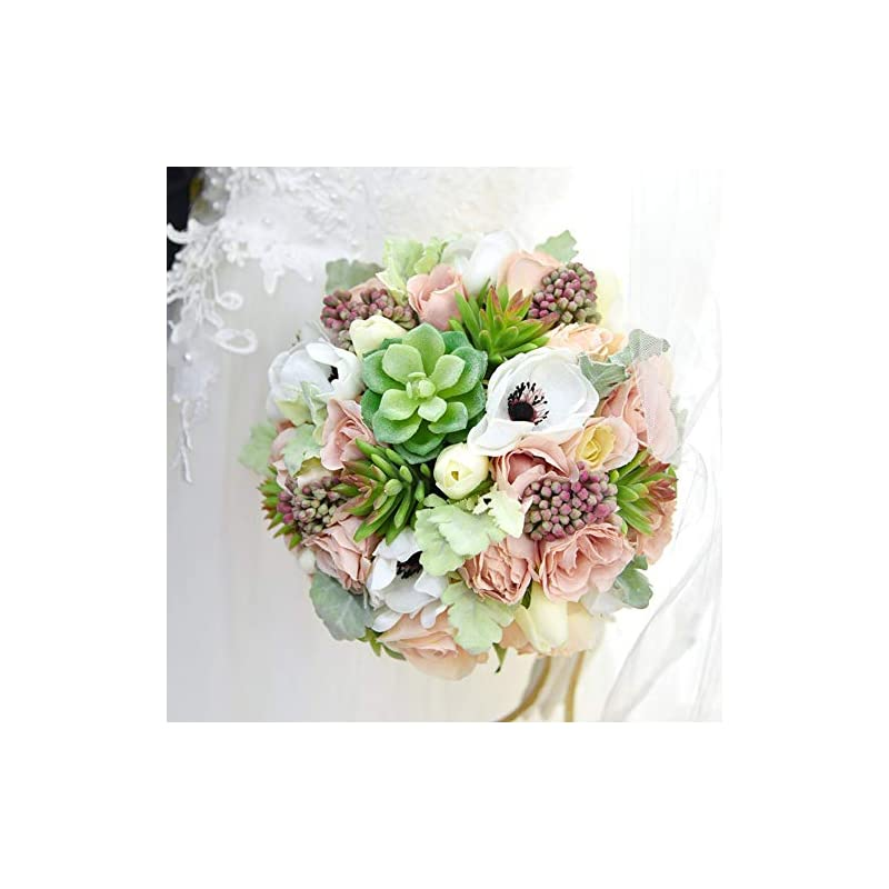 silk flower arrangements wedding bridal bridesmaid bouquet artificial white peony flowers berry holding flowers for wedding church party home decor (bouquet)