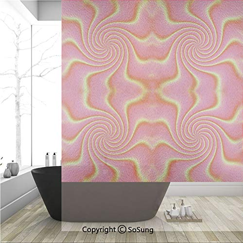 3D Decorative Privacy Window Films,Digital Pop Art Produced Figural Expanding Shady Lines and Nested Shape Design,No-Glue Self Static Cling Glass film for Home Bedroom Bathroom Kitchen Office 36x48 - Figural Pearl