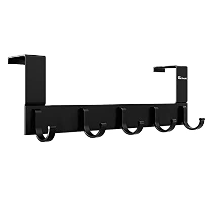 Over The Door Hook Organizer Rack, Anjuer Metal Coat Hanger Door 5 Hooks Hanger Black