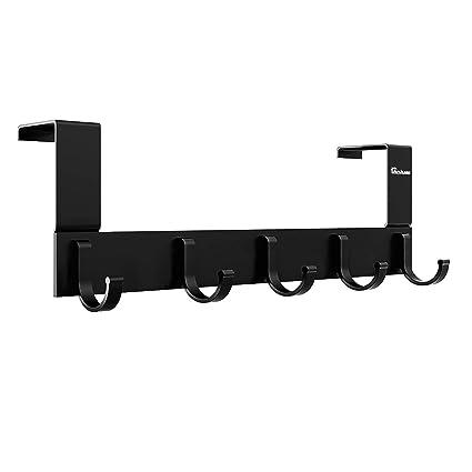 Over The Door Hook Organizer Rack, Anjuer Metal Coat Hanger Door 5 Hooks Hanger Black