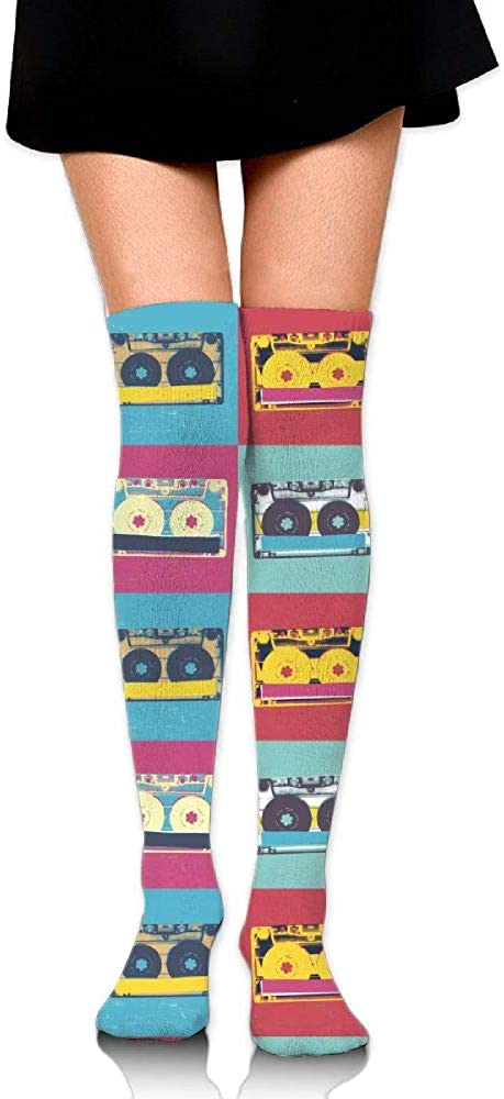 Womens//Girls Vintage Styled Retro Music Casual Socks Yoga Socks Over The Knee High Socks 23.6