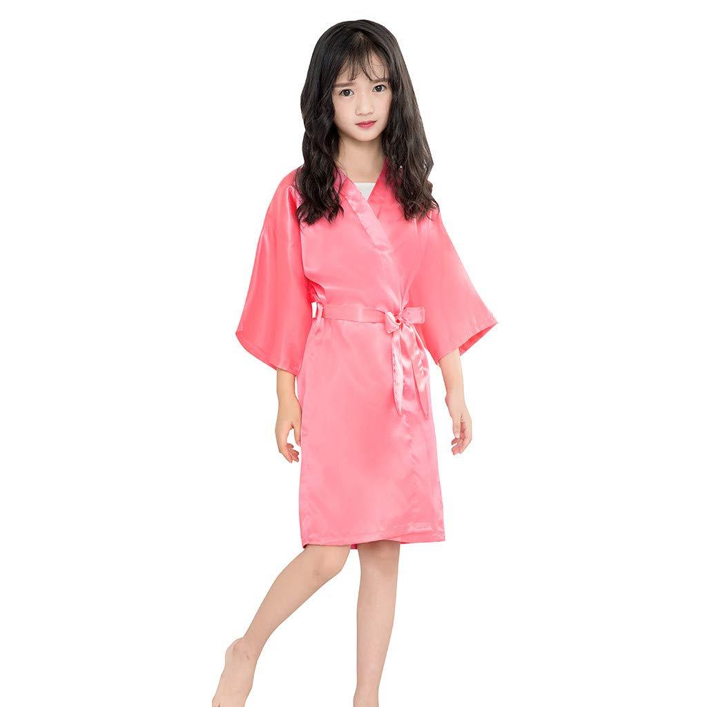 NUWFOR Toddler Baby Kids Girls Solid Silk Satin Kimono Robes Bathrobe Sleepwear Clothes(Watermelon Red,5-7Years)