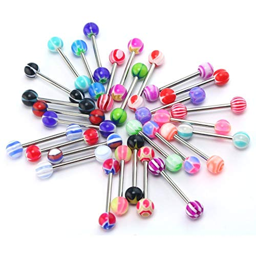 CrazyPiercing Wholesale 30x Ball Nipple Tongue Ring Bar/Tongue Pin/Barbells Body Piercing Jewelry ()