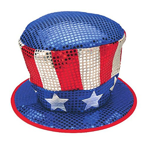 - Jacobson Hat Company Men's Red White and Blue Sequin Top Hat with Stars, Multi, One Size