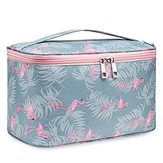 Travel Makeup Bag Large Cosmetic Bag Makeup Case Organizer for Women and Girls (Large, Flamingo)