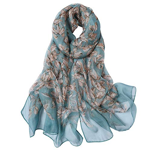 STORY OF SHANGHAI Womens 100% Mulberry Silk Scarf Lightweight Print Sunscreen Shawls Wraps For Ladies