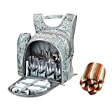 Seatopia Portable Picnic Backpack Camping with Camping Blanket, Chopping Board, Flatware and Plates for 4 Person