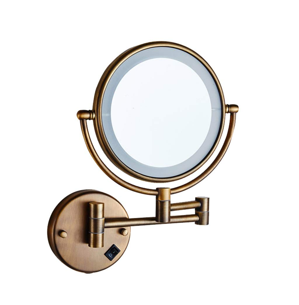 JIANPING LED Makeup Mirror Double-Sided Wall-Mounted Bathroom Mirror Shaving Mirror | 8 Inch Adjustable Retractable Retro Copper Wall Mirror by JIANPING