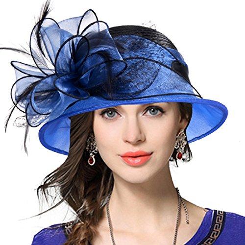 VECRY Lady Derby Dress Church Cloche Hat Bow Bucket Wedding Bowler Hats (Two-Tone-Blue, Medium)