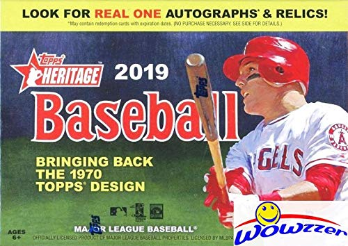 2019 Topps Heritage MLB Baseball EXCLUSIVE Factory Sealed Retail Box with 8 Packs & 72 Cards! Look for Real One Autographs, Inserts, Parallels, Relics & More! New! This Product is On FIRE! WOWZZER! ()