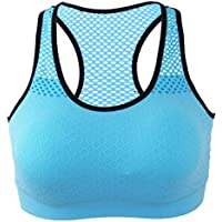 Florencinid Women Sports Bra One Piece Seamless Full Cup Wireless Bra Mesh Fitness Underwear Elastic Quick-Dry Sports Vest Bra