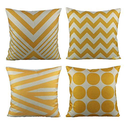 All Smiles Yellow Outdoor Throw Pillow Cases Decorative Cushion Covers Pillowcases 18 x 18 Set of 4 Accent Square Home Classroom Decor for Couch Sofa Patio,Kids Geometric Modern Decorations