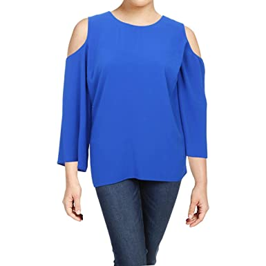 faa25c31e7b945 VINCE CAMUTO Womens Plus Cold Shoulder Long Sleeves Casual Top Blue 1X