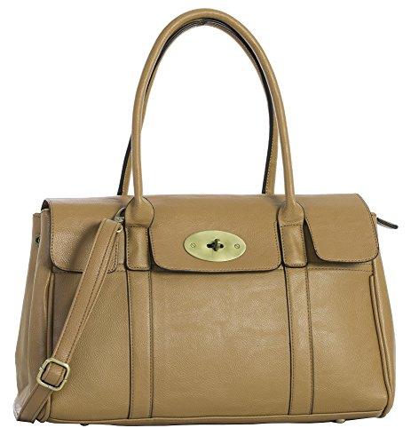 Boutique Leather Bag Camel Top Handle Big Handbag Turnlock Womens Shoulder Designer Shop Vegan SwYpIq