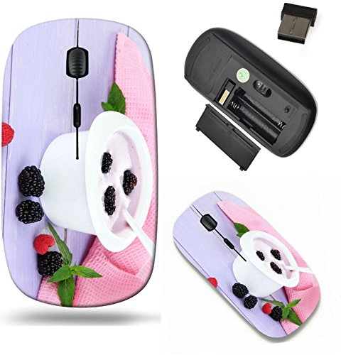 Liili Wireless Mouse Travel 2.4G Wireless Mice with USB Receiver, Click with 1000 DPI for notebook, pc, laptop, computer, mac book Delicious yogurt with berries on table close up Image ID 22041932