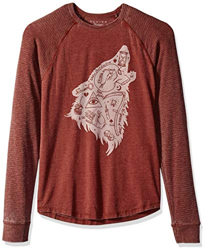 (Lucky Brand Men's Long Sleeve Wolf Dreams Thermal Shirt, Russet Brown S)