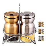SILUKER Salt and Pepper Shakers with Stand - Modern Kitchen Stainless Steel Salt Shakers with Adjustable Pour Holes + BONUS FREE Wooden Cooking Spoon(Silver & Bronze)
