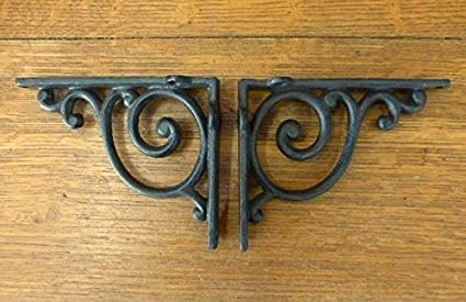 2 BROWN ANTIQUE-STYLE 5.5 SHELF BRACKETS RUSTIC CAST IRON WAVE DESIGN wall Antiques