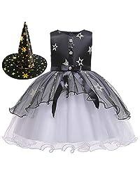 XINXINHAIHE Newborn Girls Halloween Cosplay Clothes Sleeveless Mesh Princess Dress&Witch Hat
