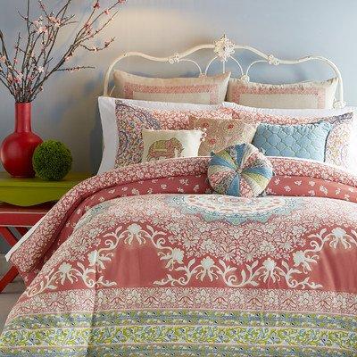 - Jessica Simpson Amrita Medallion Comforter Set, Queen, Coral