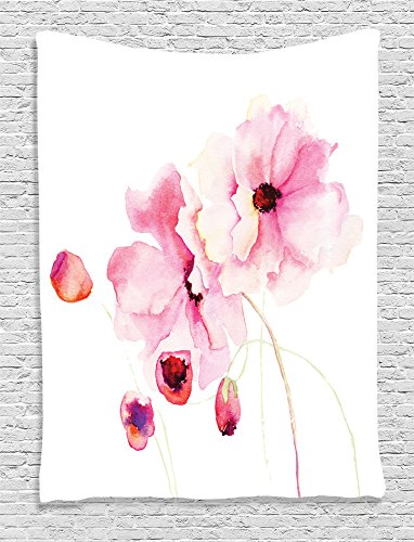 Ambesonne Watercolor Flower Decor Collection, Poppy Flowers