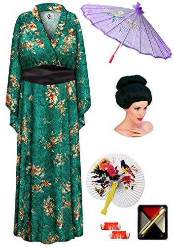 Green Crush Velvet Geisha Robe Plus Size Costume - Dlx Black Bun Wig Kit -