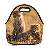 tolbert wisfins Neoprene Lunch Bag Tote Bag Cute Baby Cheetah Waterproof Lunch Box For Outdoor Travel Picnic