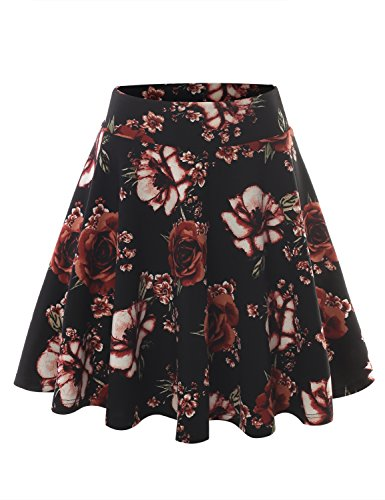 ALL FOR YOU Women's Crepe Pattern Versatile Stretchy Flared Skater Skirt Printed Black XXX-Large
