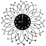 "LuLu Decor, Morning Bloom Metal Wall Clock 23.5"", Black Glass Dial with Arabic Numbers 9"", Decorative Night Dial Clock for Living Room, Bedroom, Office Space Review"