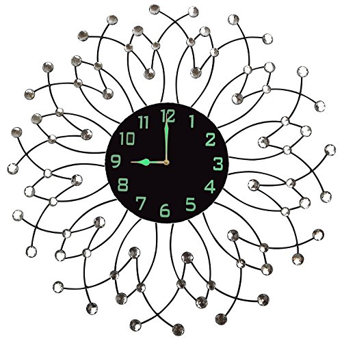 Lulu Decor, Morning Bloom Metal Wall Clock 23.5 , Black Glass Dial with Arabic Numbers 9 , Decorative Night Dial Clock for Living Room, Bedroom, Office Space
