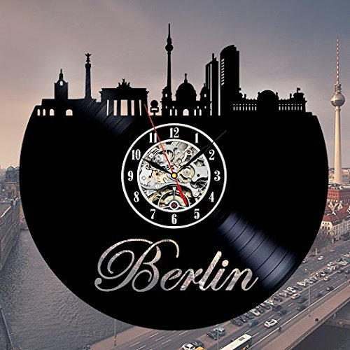 - Berlin Skyline Vinyl Record Wall Clock - Decorate your home with Modern City Art - Best gift for man, woman, boyfriend and girlfriend - Win a prize for feedback