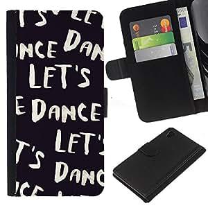 iBinBang / Flip Funda de Cuero Case Cover - Vamos a bailar Texto Negro Blanco Viñeta - Sony Xperia Z4