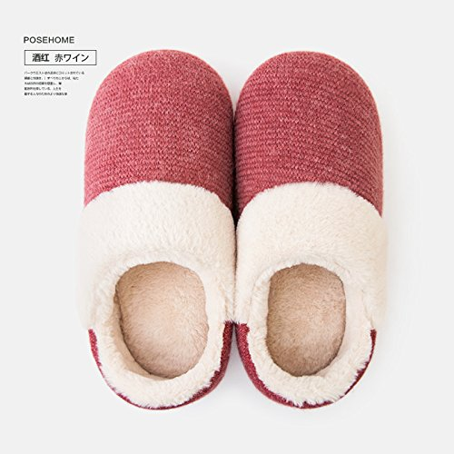 Slipper antiglisse Padded Chaussures Vin B Hommes d'hiver Cotton LaxBa rouge intérieur Chaussons peluche chauds Femmes RawHFP1