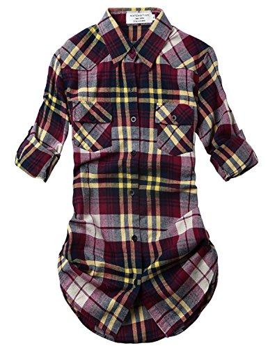 Match Women's Long Sleeve Plaid Flannel Shirt #2021(Medium, Checks#19) -