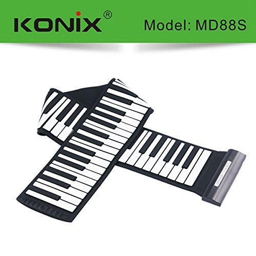 KONIX USB 88 Key MIDI Flexible Silicone Electronic Roll Up Piano MD88S