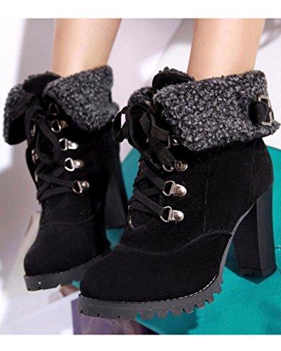 Minetom Mujer Invierno Calentar Botines Tacón Alto Boots Cortas Zapatos De Cordones Martin Botas Negro