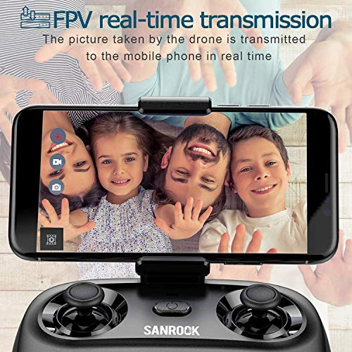 SANROCK U61W Drones for Kids with Camera, Mini RC Drone Quadcopter with 720P HD WiFi FPV Camera, Support Altitude Hold, Route Making, Headless Mode, One-Key Start, Emergency Stop, Great Gift for Boys Girls