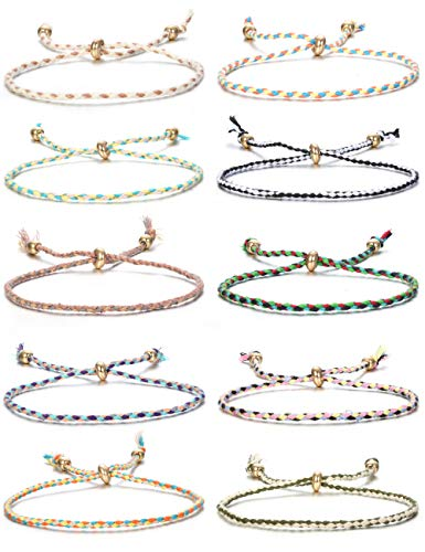 Jstyle 10Pcs Friendship Braided Bracelet String Wrap Bracelets Wrist Anklet Cord Adjustable Birthday Gifts