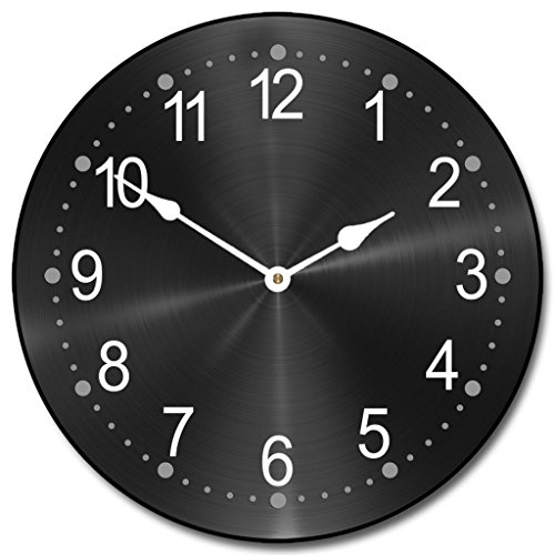 Heavy Metal Black Wall Clock, Available in 8 Sizes, Most Sizes Ship 2-3 Days, Whisper Quiet.