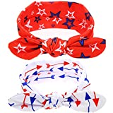BinaryABC Baby Headband Bandanas American Flag Headband Elastic Cloth Cute Hairband Accessories,2Pcs(2 Different styles)