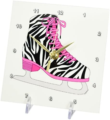 3dRose dc_128505_1 Zebra and Hot Pink Ice Skate Image Desk Clock, 6 by 6-Inch