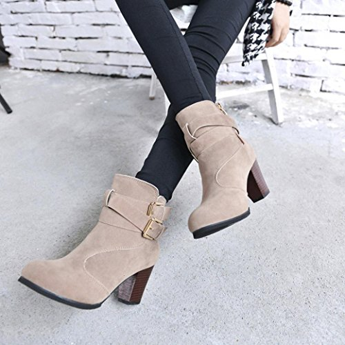 Ankle Boots by autumn-wind, Women High Heels Pointed Toe Slim Sweet Boot Martin Shoes Belt Buckle Ladies Zip Boots 2.5-6.5 Beige