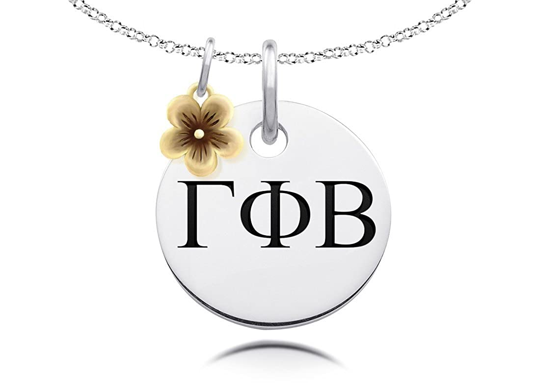 Gamma Phi Beta Necklace with Gold Flower Charm Accent