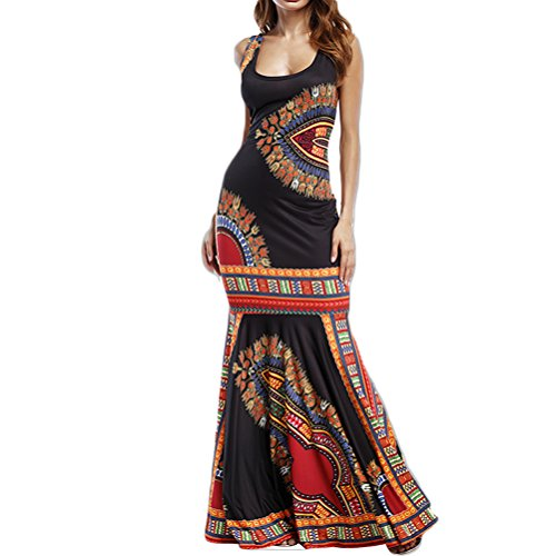(Women's Summer African Print Dashiki Long Maxi Tank Tops Dress Hem Fold Skirt)