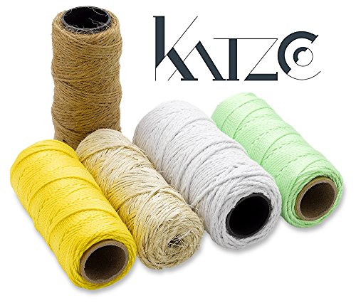 5 Pack Twisted Nylon Twine And Jute Twine Rolls Set - 130 Core Wound Rolls - 5 Colors Assortment -By Katzco