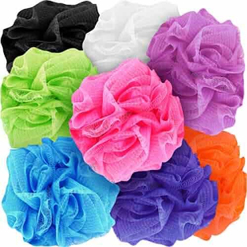 Counterfeit Blonde's Mesh Bath Sponges, (8-Pack) Multi-Color Bath Loofah Sponge Assortment