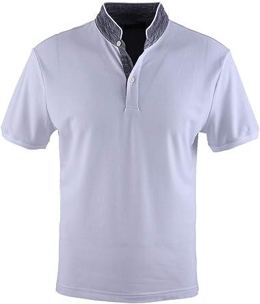 0118Voray Ga Polo Hombre algodón Granito Cuello Mao Vivo Contraste ...