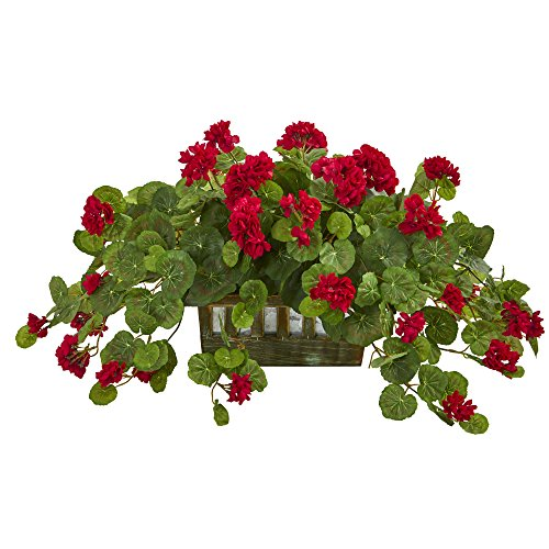 Nearly Natural 8071 Geranium Decorative Planter Artificial Plant, Red
