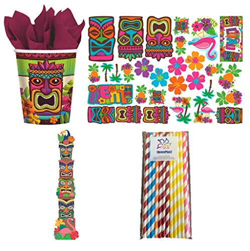 Tiki Party Supplies Pack: Includes Giant Tiki Totem Pole Decoration, Tiki Cutouts, Paper Cups and ElevenPlus2 Straws for 50 Guests